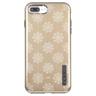 Capa Incipio DualPro Shine Para iPhone 8 Plus/7 Pl Monograma branco dos flocos de neve