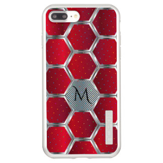 Capa Incipio DualPro Shine Para iPhone 8 Plus/7 Pl Monograma vermelho & de prata do design geométrico