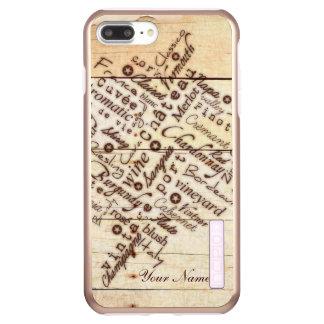 Capa Incipio DualPro Shine Para iPhone 8 Plus/7 Pl Nome de madeira queimado rústico da tipografia do