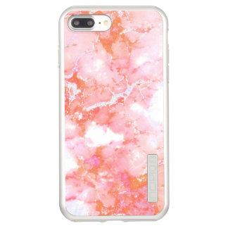 Capa Incipio DualPro Shine Para iPhone 8 Plus/7 Pl Pedra de mármore nebulosa cor-de-rosa do pêssego