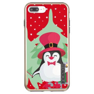 Capa Incipio DualPro Shine Para iPhone 8 Plus/7 Pl Pinguim festivo com trenó - vermelho