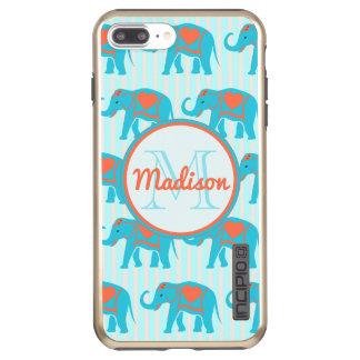 Capa Incipio DualPro Shine Para iPhone 8 Plus/7 Pl Turquesa da cerceta, elefantes azuis, nome das