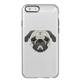 Capa Incipio Feather® Shine Para iPhone 6 A ilustração persegue o Pug da cara