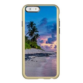 Capa Incipio Feather® Shine Para iPhone 6 Água das caraíbas de turquesa da praia e palmas