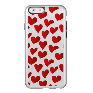 Capa Incipio Feather® Shine Para iPhone 6 Amor vermelho pintado teste padrão do coração da