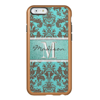 Capa Incipio Feather® Shine Para iPhone 6 Azul de turquesa da cerceta & damasco de Brown,