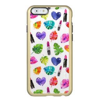Capa Incipio Feather® Shine Para iPhone 6 Batons do beijo do pino das folhas de palmeira da