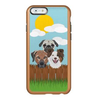 Capa Incipio Feather® Shine Para iPhone 6 Cães afortunados da ilustração em uma cerca de