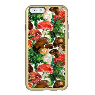 Capa Incipio Feather® Shine Para iPhone 6 Cogumelos da aguarela e teste padrão verde da