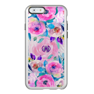 Capa Incipio Feather® Shine Para iPhone 6 Colagem colorida das flores das aguarelas