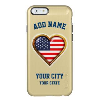 Capa Incipio Feather® Shine Para iPhone 6 Coração americano personalizado com seus cidade e