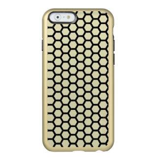 CAPA INCIPIO FEATHER® SHINE PARA iPhone 6  MÁRMORE HEXAGON2 PRETO & LINHO BEGE (R)