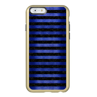 CAPA INCIPIO FEATHER® SHINE PARA iPhone 6  MÁRMORE STRIPES2 PRETO & METAL ESCOVADO AZUL