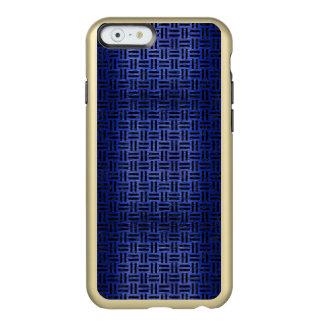 CAPA INCIPIO FEATHER® SHINE PARA iPhone 6  MÁRMORE WOVEN1 PRETO & METAL ESCOVADO AZUL (R)