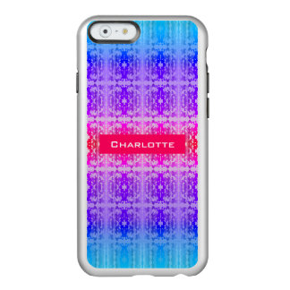 Capa Incipio Feather® Shine Para iPhone 6 Monograma cor-de-rosa, roxo e azul do Fractal