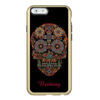 Capa Incipio Feather® Shine Para iPhone 6 Monograma do crânio do açúcar da flor
