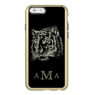 Capa Incipio Feather® Shine Para iPhone 6 Monograma preto do tigre do ouro