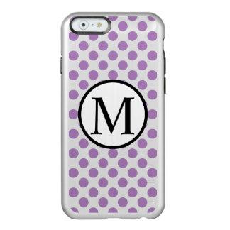 Capa Incipio Feather® Shine Para iPhone 6 Monograma simples com bolinhas da lavanda