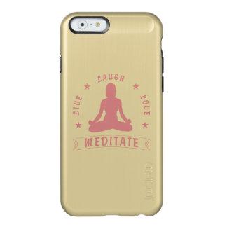 Capa Incipio Feather® Shine Para iPhone 6 O amor vivo do riso Meditate texto fêmea (o rosa)