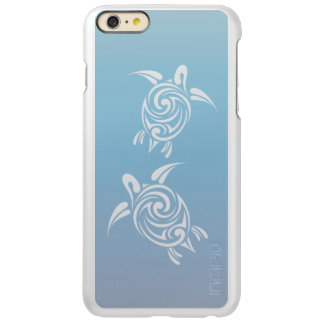 Capa Incipio Feather® Shine Para iPhone 6 Plus Animal tribal de prata azul das tartarugas de mar