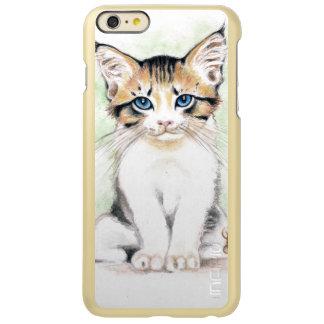 Capa Incipio Feather® Shine Para iPhone 6 Plus Arte bonito da aguarela do gato malhado