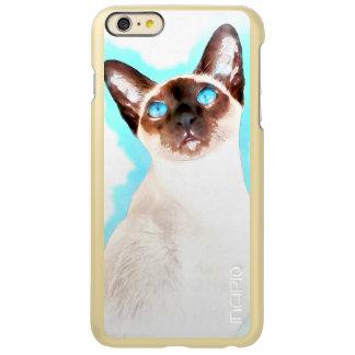 Capa Incipio Feather® Shine Para iPhone 6 Plus Arte da aguarela do gato Siamese