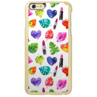 Capa Incipio Feather® Shine Para iPhone 6 Plus Batons do beijo do pino das folhas de palmeira da