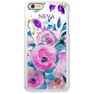 Capa Incipio Feather® Shine Para iPhone 6 Plus Buquê floral colorido das aguarelas