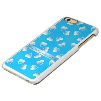 Capa Incipio Feather® Shine Para iPhone 6 Plus Corações azuis pequenos bonito. Adicione seu