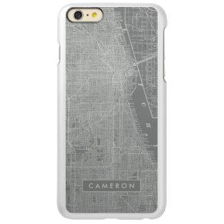 Capa Incipio Feather® Shine Para iPhone 6 Plus Esboço do mapa da cidade de Chicago