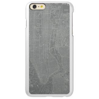 Capa Incipio Feather® Shine Para iPhone 6 Plus Esboço do mapa da Nova Iorque