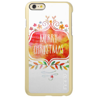 Capa Incipio Feather® Shine Para iPhone 6 Plus Feliz Natal retro da aguarela