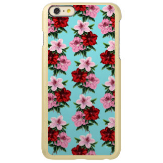 Capa Incipio Feather® Shine Para iPhone 6 Plus flores rosas vermelha na luz da cerceta