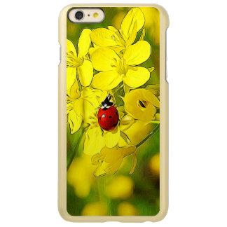 Capa Incipio Feather® Shine Para iPhone 6 Plus Joaninha amarelo do vermelho da boa sorte da flor
