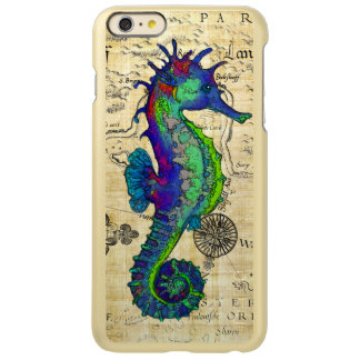 Capa Incipio Feather® Shine Para iPhone 6 Plus Mapa cómico do vintage do cavalo marinho