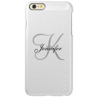 Capa Incipio Feather® Shine Para iPhone 6 Plus Nome cinzento elegante personalizado do monograma