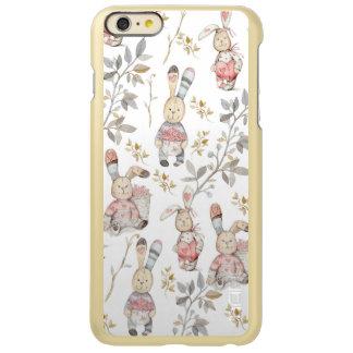 Capa Incipio Feather® Shine Para iPhone 6 Plus Teste padrão bonito da aguarela dos coelhinhos da