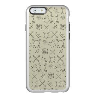 Capa Incipio Feather® Shine Para iPhone 6 Teste padrão do crânio e dos ossos do creme brulée
