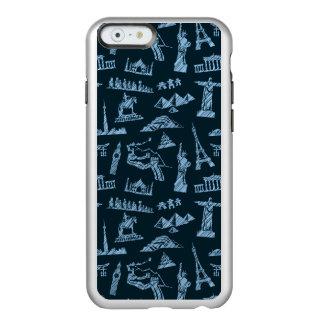 Capa Incipio Feather® Shine Para iPhone 6 Teste padrão do viagem no teste padrão dos azuis