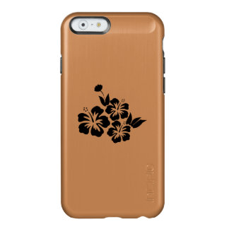 Capa Incipio Feather® Shine Para iPhone 6 Três flores tropicais do hibiscus preto