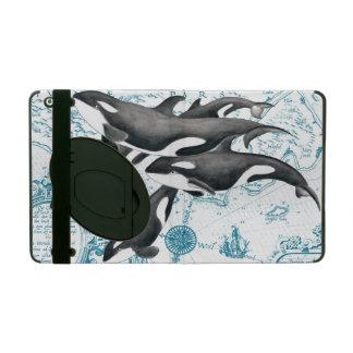 Capa iPad Azul antigo da família das baleias da orca