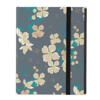 Capa iPad Bege floral e cerceta