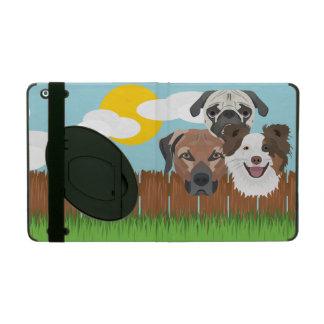 Capa iPad Cães afortunados da ilustração em uma cerca de