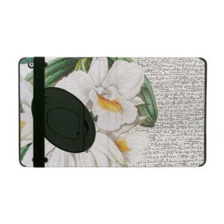 Capa iPad Caligrafia branca da orquídea
