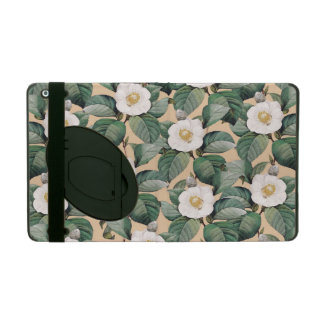 Capa iPad Camélia branca no teste padrão bege