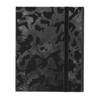Capa iPad Camuflagem cinzenta preta e escura de Camo moderno