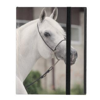 Capa iPad coleção do cavalo. branco árabe