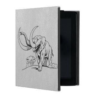 Capa iPad Couro cinzento & ilustração preta dos elefantes