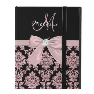 Capa iPad Damasco cor-de-rosa do preto do brilho do ouro,