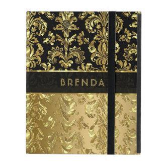 Capa iPad Damascos florais 3 do ouro preto & brilhante